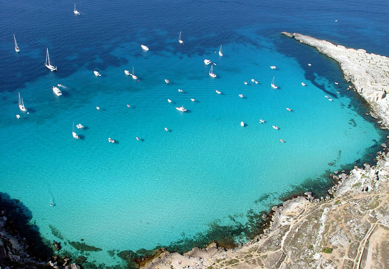 Cala Rossa Favignana from above